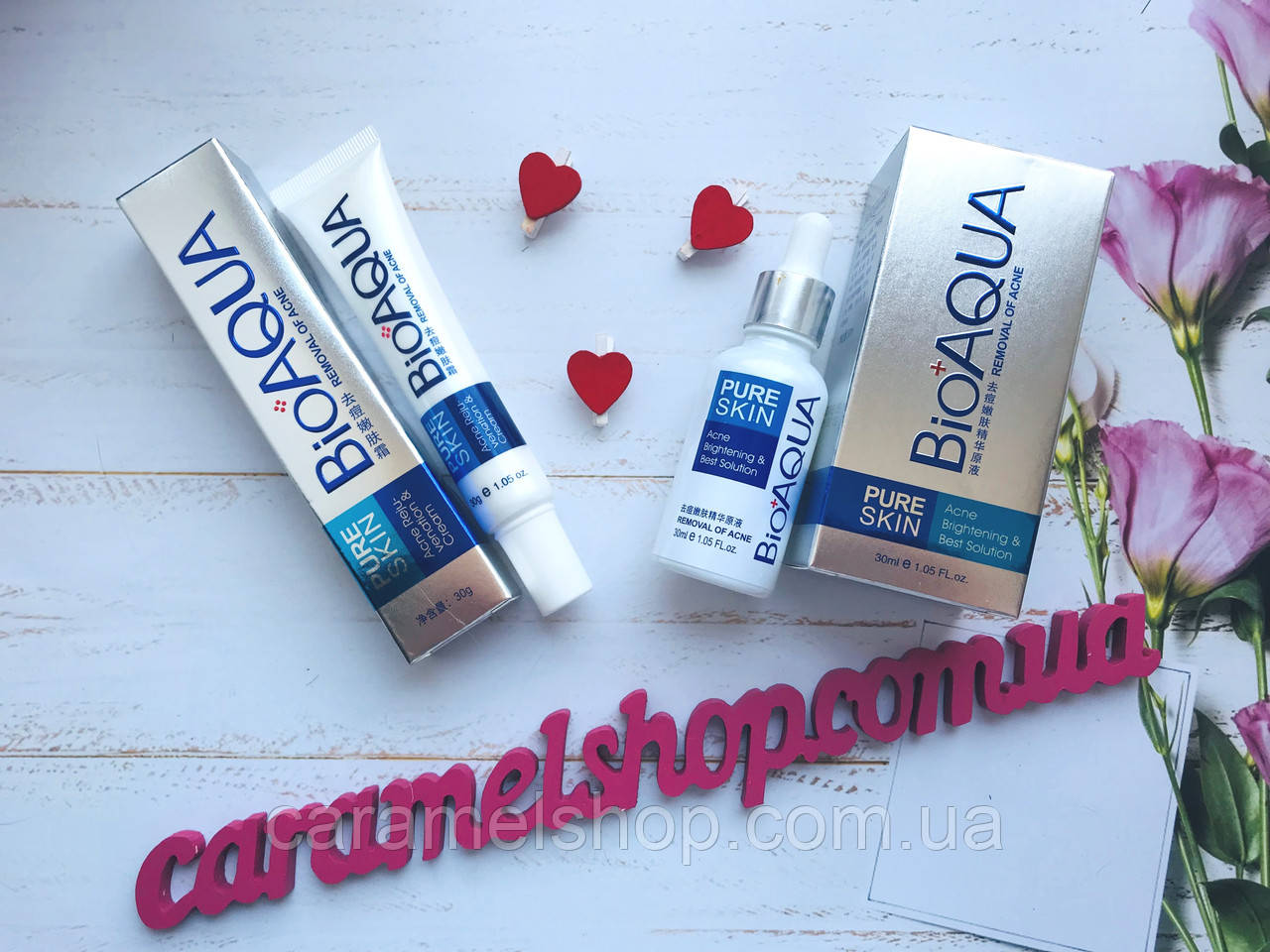 Набор анти-акне для проблемной кожи BIOAQUA Pure Skin Anti Acne 2 в 1 сыворотка + крем
