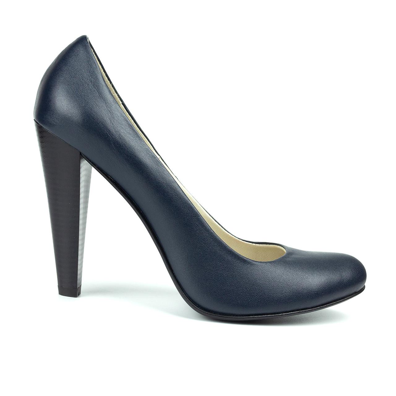 Туфли на каблуке темно-синий (О-566)
