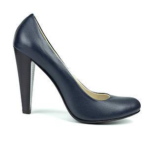 Классические темно-синие женские туфли 39 размер на высоком каблуке Woman's heel с заостренным носом