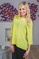 Блуза молодежная с воротником желтая, фото 1