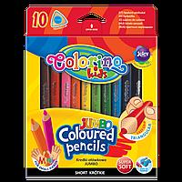 Короткие цветные карандаши JUMBO Colorino Kids  треугольная форма 10 цветов с точилкой