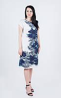 Легка літня біла батистова сукня міді з асиметричним екзотичним квітковим принтом №990