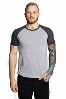 Мужские футболки двухцветные ХХЛ, серый-тем-серый