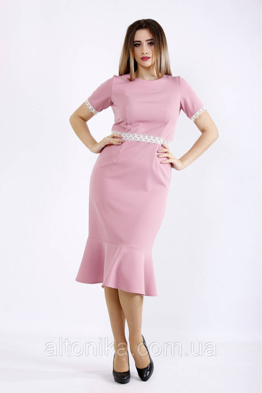 Женское платье с гипюровыми вставками | 42-74