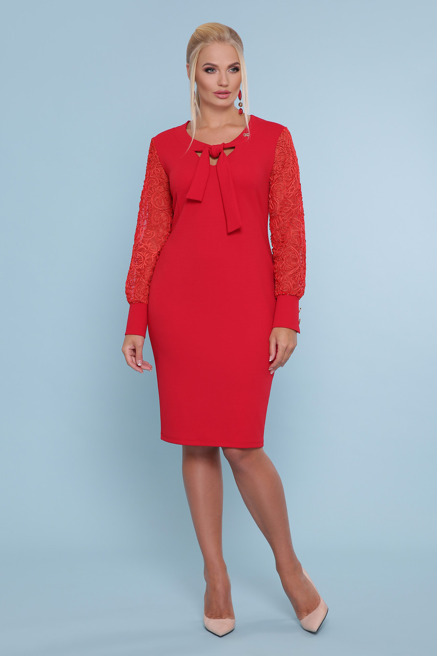 Ділова сукня з креп-дайвінгу та сітки з візерунком