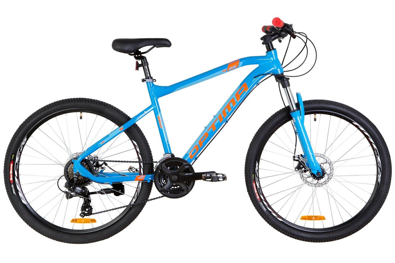 """Велосипед горный 26"""" Optimabikes F-1 DD 2019 (рама 16"""", сине-оранжевый )"""