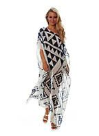 Пляжное длинное платье с геометрическим узором, фото 1