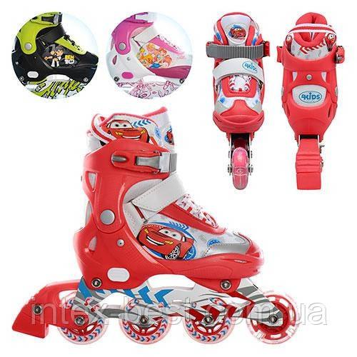 Раздвижные детские ролики A 1023 S-R (Красные) (размер 28-31)