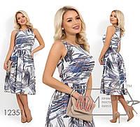 Платье-миди из стрейч-вискозы без рукавов, отрезное по талии 12351