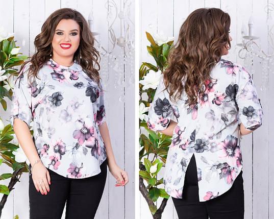 """Асимметричная женская блуза в цветочек """"Janine"""" с рукавом 3/4 (большие размеры), фото 2"""