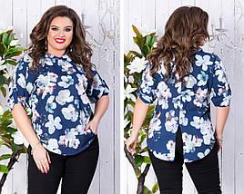"""Асимметричная женская блуза в цветочек """"Janine"""" с рукавом 3/4 (большие размеры), фото 3"""