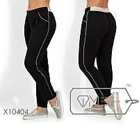 Легкие летние брюки на резинке, с серебрянной люрексовой отделкой и зауженные к низу X10404
