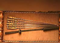 """Шампура ручной работы """"В лесу"""" - узкая спираль, в кожаном колчане (набор шампуров 6шт)"""