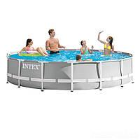 Каркасный бассейн Intex 26724 - 1, 457 х 107 см (лестница, тент, подстилка)