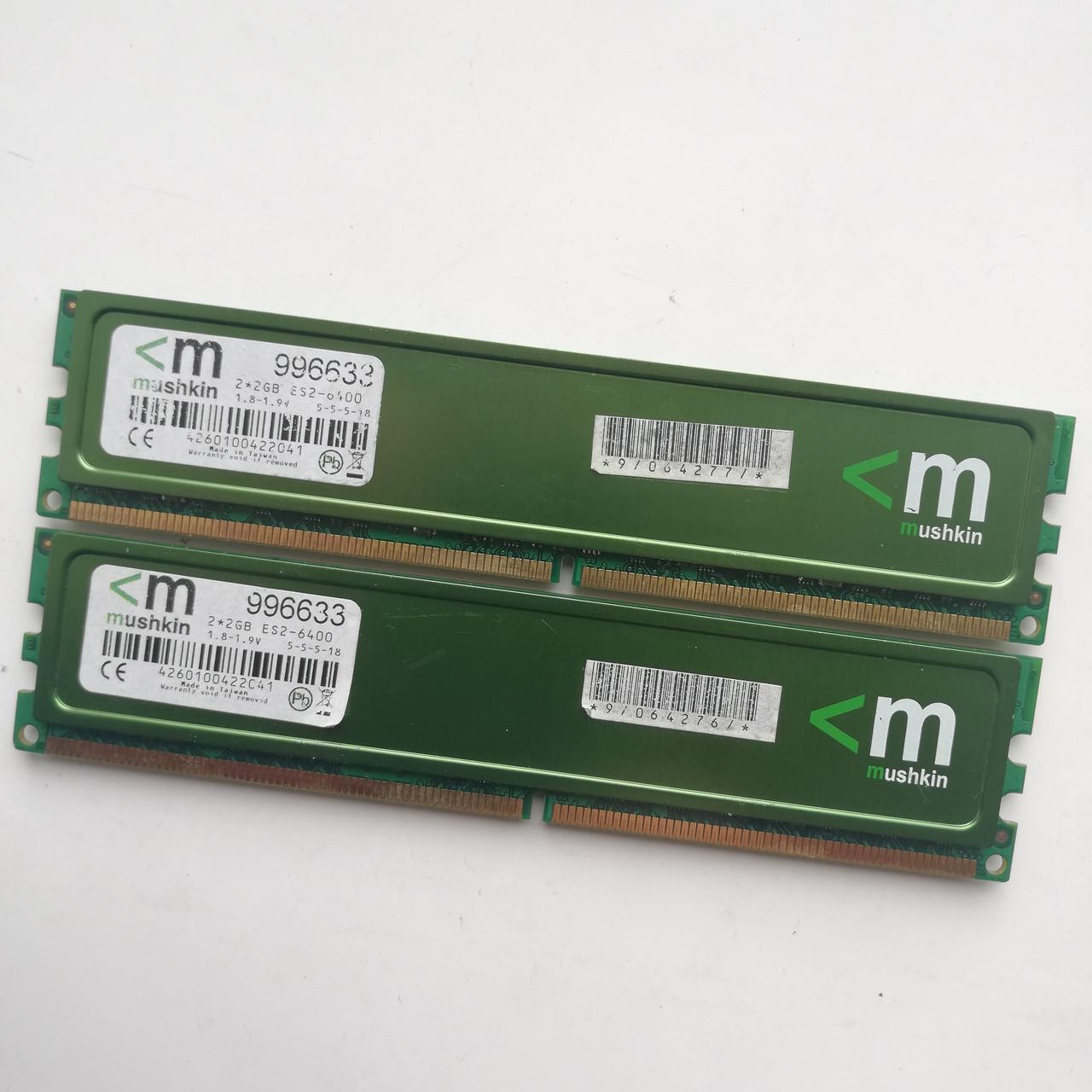 Комплект оперативной памяти Mushkin DDR2 4Gb (2Gb+2Gb) KIT of 2 800MHz PC2 6400U CL5 (996633) Б/У