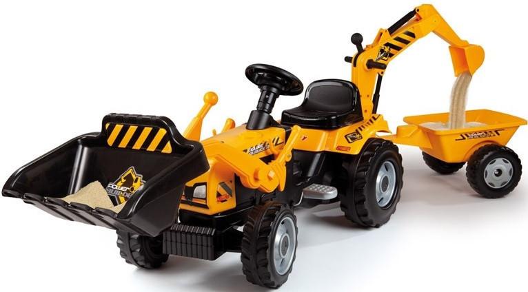 Трактор педальный с прицепом и двумя ковшами Builder Max Smoby 33389
