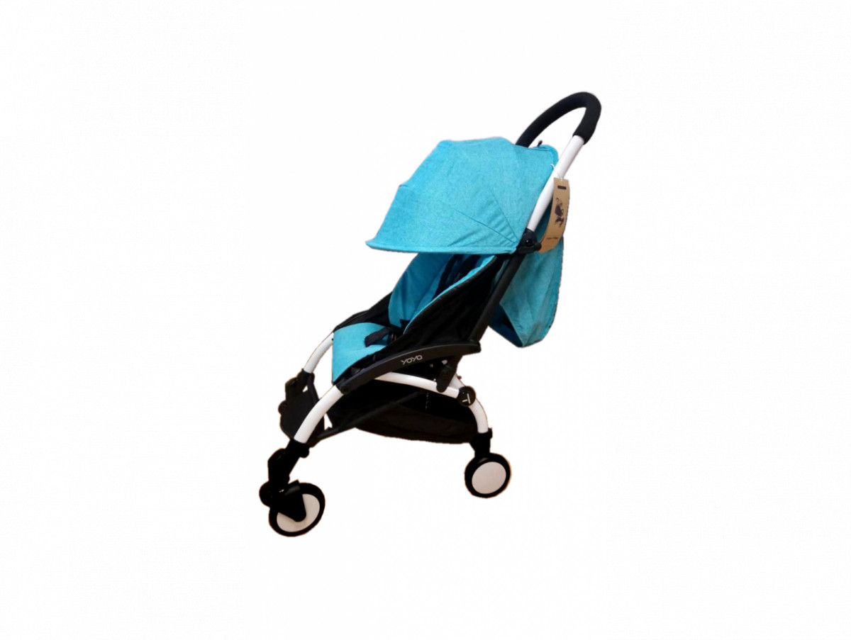 Детская коляска YOYA 175A+ Бирюза лен белая рама