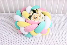 Бортик косичка в кроватку разноцветная на 4 плетения 20х120 см