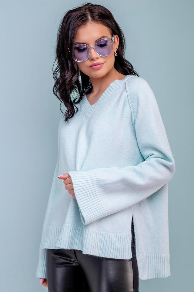 Женский свободный свитер, размер 42-50, голубой, широкий, повседневный, молодёжный