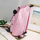 Рюкзак молодежный с брелком помпоном розовый., фото 2