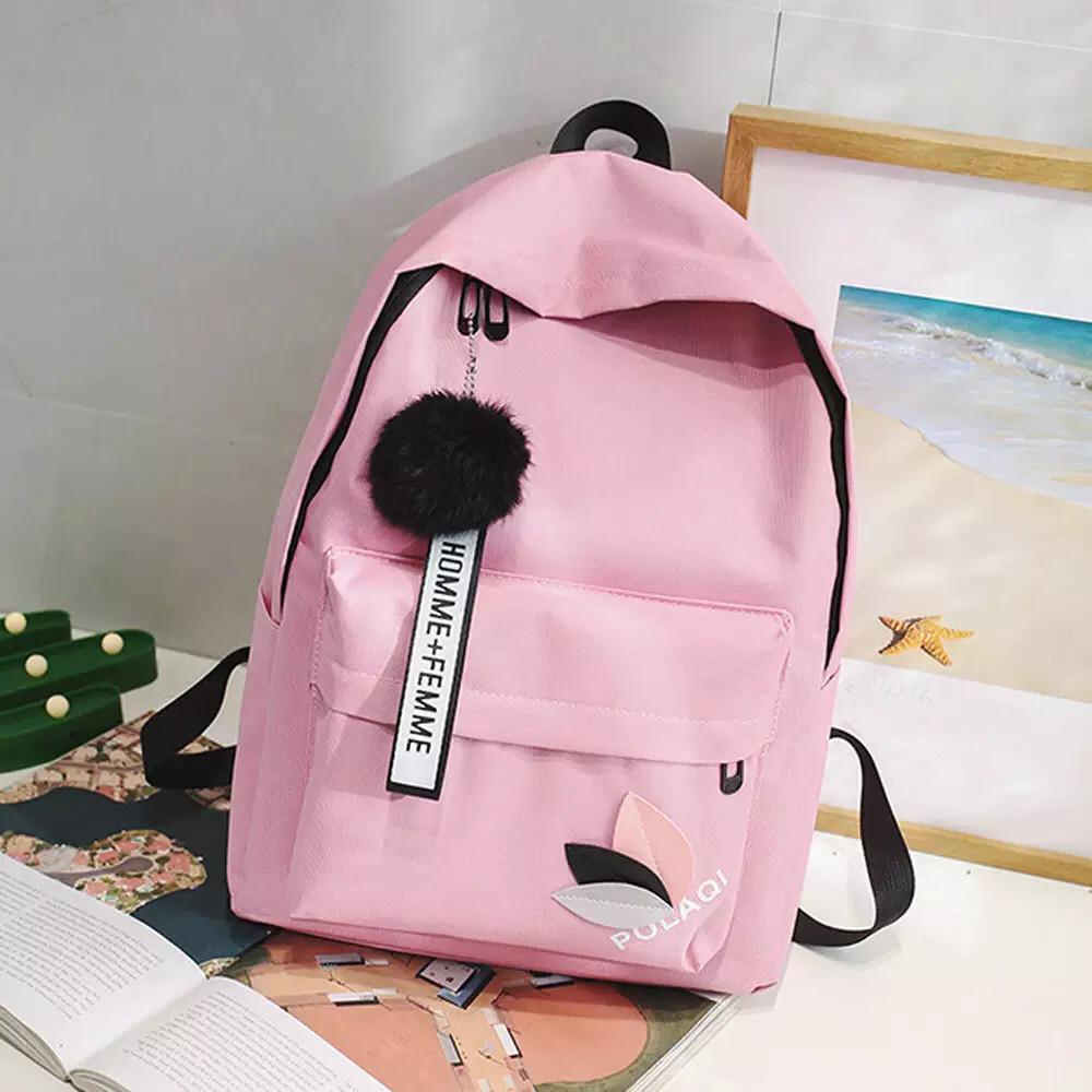 Рюкзак молодежный с брелком помпоном розовый.
