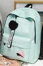 Рюкзак молодежный с брелком помпоном розовый., фото 5