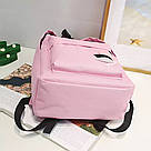 Рюкзак молодежный с брелком помпоном розовый., фото 3