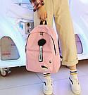 Рюкзак молодежный с брелком помпоном розовый., фото 7