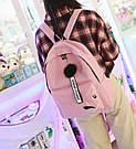 Рюкзак молодежный с брелком помпоном розовый., фото 6