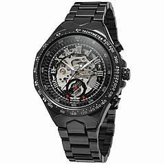 ✪ Часы мужские Winner Bussines Black механические с металлическим браслетом скелетон нержавеющая сталь