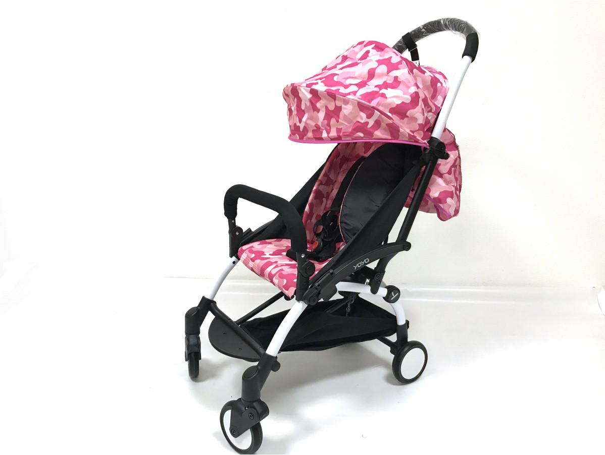Детская коляска YOYA 175A+ Розовый камуфляж белая рама