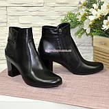 Чоботи жіночі шкіряні туфлі на невисокому каблуці, фото 3