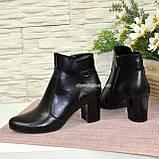 Чоботи жіночі шкіряні туфлі на невисокому каблуці, фото 4
