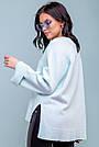 Женский свободный свитер, размер 42-50, голубой, широкий, повседневный, молодёжный, фото 8