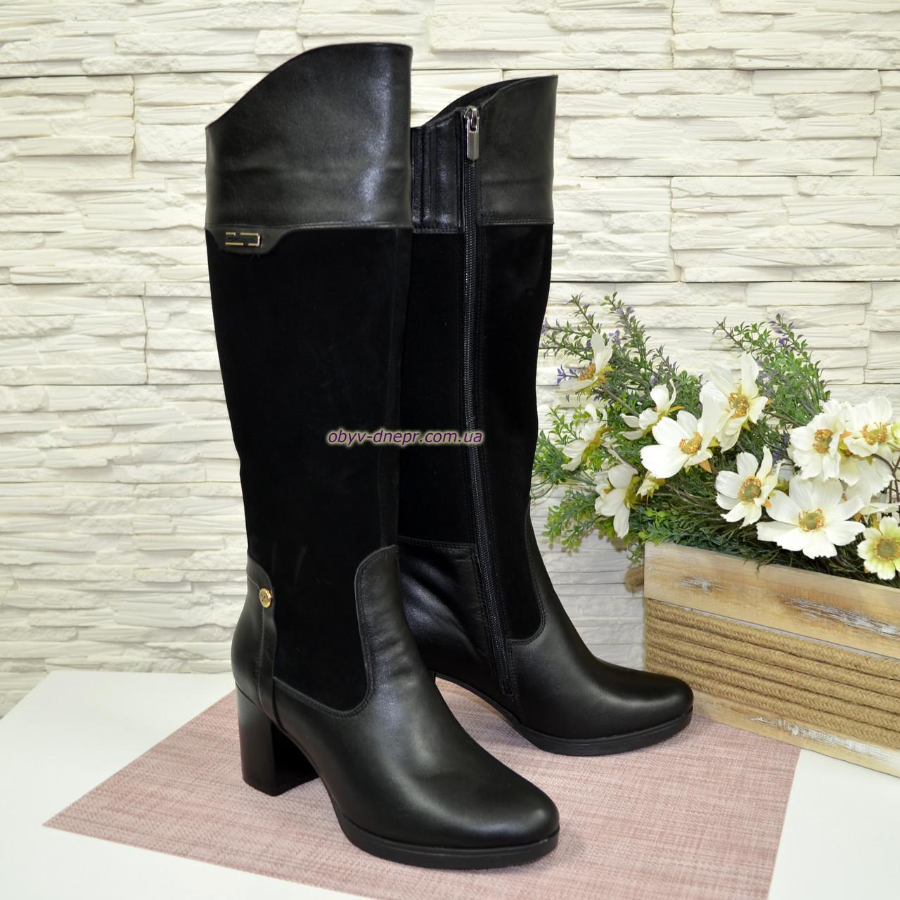 Сапоги зимние комбинированные на устойчивом каблуке