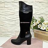 Сапоги зимние комбинированные на устойчивом каблуке, фото 2