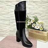 Сапоги зимние комбинированные на устойчивом каблуке, фото 6