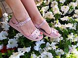 Жіночі босоніжки на товстій підошві, натуральна шкіра сатин, фото 2