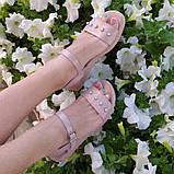 Жіночі босоніжки на товстій підошві, натуральна шкіра сатин, фото 5