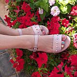 Жіночі босоніжки на товстій підошві, натуральна шкіра сатин, фото 6