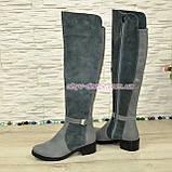 Ботфорты женские зимние на невысоком каблуке, натуральная кожа и замша серого цвета., фото 2