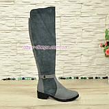 Ботфорты женские зимние на невысоком каблуке, натуральная кожа и замша серого цвета., фото 4