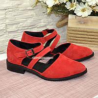 Женские замшевые туфли на низком ходу, цвет красный