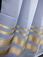 Молочная шифоновая тюль с атласными полосами по низу Высота 2.8 м На метраж и опт, фото 1