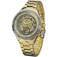 ☀Элегантные часы Winner Bussines Gold мужские механические круглые с стальным ремешком нержавеющие