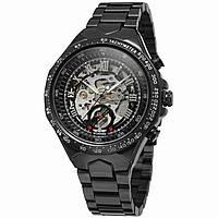 ✗Стильные часы Winner Bussines Black мужские автоматические механические круглые нержавеющий стальной ремешок