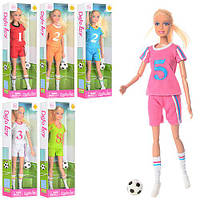 Лялька DEFA 8367 шарнірна, футболістка, м'яч, 6 видів, кор., 11,5-32-4,5 см.