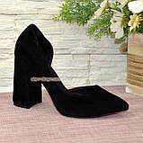 Туфли женские замшевые на устойчивом каблуке, цвет черный, фото 2