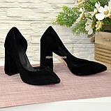Туфли женские замшевые на устойчивом каблуке, цвет черный, фото 3