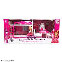 Кукла маленькая 5988-7 (18шт) 2-х эт.кровать, трюмо, кресла, аксес. в кор.46,5*16*20 см